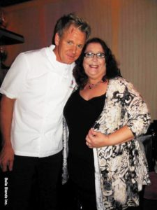 Donna and Chef Ramsay taking a picture at Gordon Ramsay's Pub and Grill